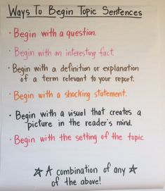 ELA Anchor Charts: Ways to Begin Topic Sentences - ELA Anchor Charts: Ways to Begin Topic Sentences Using Maps along with Topographical Atlases Argumentative Writing, Paragraph Writing, Informational Writing, Persuasive Writing, Teaching Writing, Informative Writing, Kindergarten Writing, Writing Sentences, Literacy