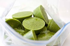 Green Smoothie Cups - Premade frozen pods of coconut milk, spinach, celery, honey, and more. Add to any smoothie combination to boost the nutritional value.