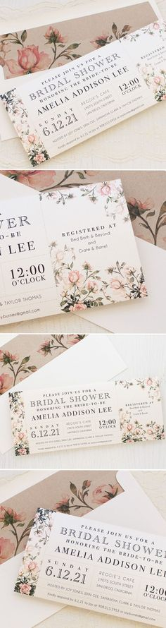 It's a girly garden party! Blush pink & floral pretty bridal shower invites. Complete with matching envelope liners.