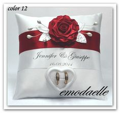 """Personalized ! wedding ring cushion pillow with rings holder box 30 color"""" in…"""