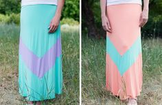 GroopDealz | Single Chevron Stripe Maxi Skirt