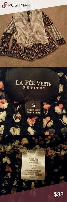 Anthropologie La Fee Verte Sweater Super soft and cozy knitted sweater. Has a pink, gray, white, and black weaved design. Mixed with black and white striped patterns across the entire sweater. Anthropologie Sweaters Cardigans