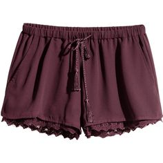 H&M Shorts with a lace trim ($21) ❤ liked on Polyvore featuring shorts, bottoms, pants, short, plum, lace-trim shorts, micro short shorts, micro shorts, mini shorts and woven shorts