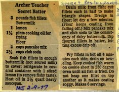 Archer Teacher Secret Batter - Historic Recipe - Collections hosted by the Milwaukee Public Library Old Recipes, Donut Recipes, Vintage Recipes, Copycat Recipes, Fish Recipes, Seafood Recipes, Cooking Recipes, Seafood Dishes, Fish And Seafood
