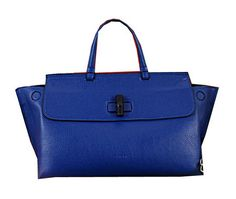 Gucci Bamboo Daily Leather Top Handle Bag 370830 Royal - $239.00