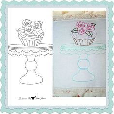 Cake Stand with Cupcake topped with roses Hand by fromthecraftroom (Craft Supplies & Tools, Patterns & Tutorials, Sewing & Needlecraft, Embroidery, cupcake, Cup Cake, Hand embroidery, pattern, download, Roses)