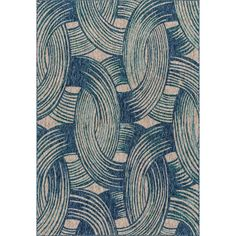 Alexander Home Indoor/ Outdoor Hudson Blue/ Teal Rug (5'3 x 7'7) (Blue/ Teal (5'3 x 7'7)) (Plastic, Geometric)
