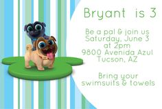 A personal favorite from my Etsy shop https://www.etsy.com/listing/515146136/puppy-dog-pals-invitations-rolly-bingo