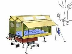 fiets caravan : une caravane pliante derrière un vélo !