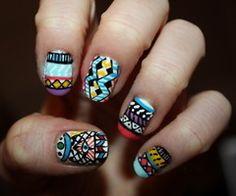 Aztec colourful nail art.
