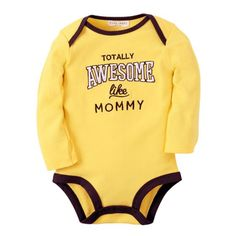 Totally awesome like mommy Cotton Unisex Baby Onesies Long Sleeve Yellow