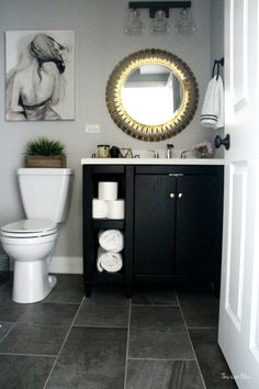 neutral glam bathroom & decor & marble shower black vanity gold mirror & gray tile & This is our Bliss Source by SLavenderLane The post How to Create a Neutral Glam Basement Bathroom Black Vanity Bathroom, Gray Bathroom Decor, Grey Bathrooms, White Bathroom, Bathroom Flooring, Bathroom Interior Design, Small Bathroom, Basement Bathroom, Bathroom Ideas