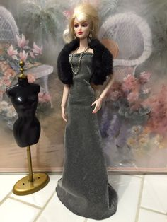 OOAK Silver Gown Fur Fashion Royalty Model Muse Silkstone Barbie Doll Clothes | eBay