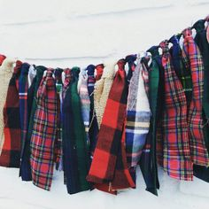 Flannel and plaid fabric garland. Lumberjack by EclecticSoirees