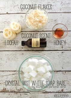 Sweet Coconut Exfoliating Soap | www.EssentiallyEclectic.com | A quick tutorial on how to make your own exfoliating soap bars with loofah pieces. Quick and easy to make, these soaps make great gifts!