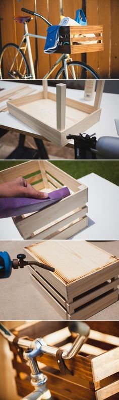 Long weekend DIY project! Build your own wooden bike basket. Adds a great rustic feel to your bicycle!