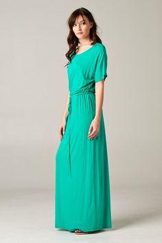 Emelia Maxi - Green. The perfect boyfriend maxi dress. $44
