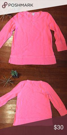J. Crew Boatneck Sweatshirt Light knit sweatshirt in super fun bright pink. J. Crew Tops Sweatshirts & Hoodies