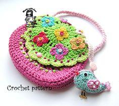 "Crochet bag / purse pdf pattern "" Birdie purse "" - via VendulkaM"