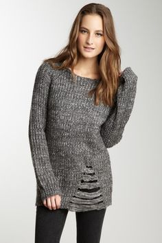 Lucca Couture Frayed Woven Knit Sweater