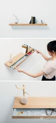 """""""Clopen"""" aluminium shelf with secret drawer that can only be opened with magnets. Prototype by Japanese architects TORAFU"""