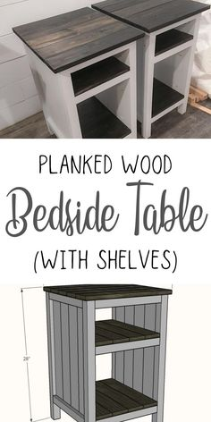 Free plans for farmhouse style bedside tables. #anawhite #anawhiteplans #bedsidetables #diy #diyfurniture #bedroombuilds Diy Home Furniture, Farmhouse Furniture, Furniture Ideas, Diy Home Decor, Farmhouse Style, Farmhouse Decor, Florida Decorating, Fixer Upper Decor, Woodworking Projects
