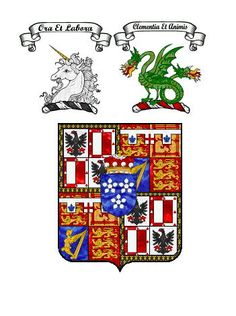 Coat of arms for Capt. Alexander Maule Ramsay of Mar (1881-1972), younger son of the 13th Earl of Dalhousie.  Married in 1919 HRH Princess Patricia of Connaught (who voluntarily relinquished her style and title of HRH Princess and was known as The Lady Patricia Ramsay thereafter).
