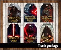 80% OFF SALE The Force Awakens Thank you Tags by mrkitspartyshop