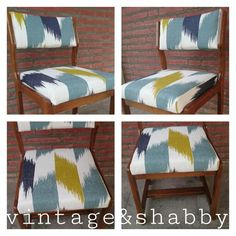 Seventies chair reupholstered with Carole Nevin Designs beautiful fabric.  At Madrid's Mercado de Motores November 7-8th.