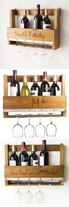 Inspired by the popular pallet home decor trend, this wall-mounted rustic wine glass rack personalized with single initial, name or custom phrase is a useful gift that can be used every day in the kitchen, home bar or man cave. With slots to hang 4 wine glasses underneath and storage shelf for additional glassware or wine bottles, this versatile shelf is a decorative space saver. This wine rack can be ordered at http://myweddingreceptionideas.com/personalized-wall-mounted-wine-glass-rack.asp
