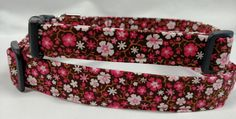 Brown and Pink Floral  Dog Collar by HalasPaws on Etsy