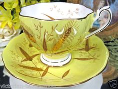 Queen Anne Teacup Simply Stunning Tea Cup and Saucer Raised Gold Antique China Dishes, Yellow Tea Cups, Tea Club, Antique Tea Cups, Tea Kettles, Chocolate Cups, China Patterns, Cup And Saucer Set, Queen Anne