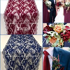 """FALL WEDDINGS DECOR!! Navy & Burgundy Quality Lace Runners!! 12"""" WIDE"""