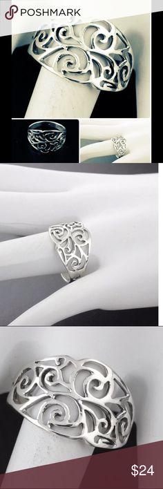 Sz 6 Sterling Silver Filagree Adorned Ring Womens 925 Sterling Silver Vintage Filigree Adorned Ring.  PURE QUALITY Jewelry Rings