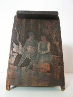 RARE Antique Russian Painted Carved Poker Work Salt Box 19th C | eBay