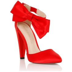 Little Mistress Red Satin Bow Side Heel ($83) ❤ liked on Polyvore featuring shoes, pumps, heels, red heel pumps, red satin shoes, heel pump, red satin pumps and ankle strap pumps