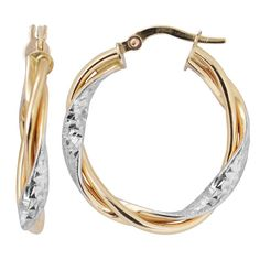 Fremada 10k Gold Twisted Hoop Earrings