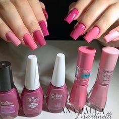 Pink Nail Art, Blue Nails, Brown Nails, White Nails, Summer Acrylic Nails, Cute Acrylic Nails, Nail Paint Shades, Pink Holographic Nails, How To Grow Nails