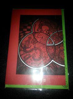Zentangle Dragon black ink design on Red card by AranaARTnDESIGN