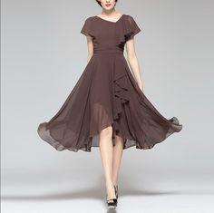 Spring summer chiffon dress lady women clothing gown dress (BSGD573)
