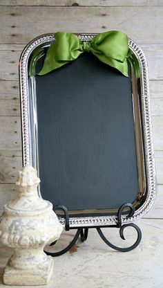DIY Welcome Board in Wedding. Buy a tray from the dollar store and some chalkboard to glue to the tray , tie a ribbon on top. This will be a wonderful wedding decor to welcome your guests with calligraphy in gold-ink-pens for a welcome message.