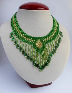 Handmade necklace Boho jewelry Beaded jewelry Modern necklace Vintage necklace Collar necklace Fringe necklace Green necklace Bib necklace Seed bead jewelry Beaded necklaces Bead necklace Boho beaded necklace Beaded Necklace made with Czech beads. Length of necklace 45 cm. Also