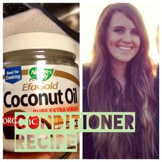 Homemade coconut oil conditioner recipe that is easy to make and leaves your hair feeling amazing. Coconut Oil Moisturizer, Coconut Oil Lotion, Homemade Coconut Oil, Homemade Moisturizer, Coconut Oil Hair Treatment, Coconut Oil Hair Growth, Coconut Oil Hair Mask, Coconut Oil For Skin, Coconut Oil Conditioner