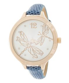 Loving this Gold & Blue Dragonfly Leather-Strap Watch on #zulily! #zulilyfinds
