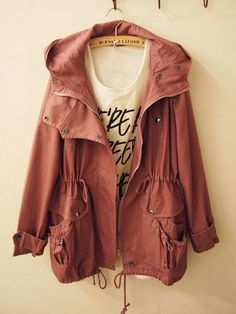 Cute fall military-style jacket in a warm terra cotta color.