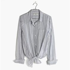 MADEWELL Striped Tie-Front Shirt (1.680 UYU) ❤ liked on Polyvore featuring tops, shirts, button ups, starry night, tie front top, tie shirt, button-down shirt, stripe top and striped button up shirt