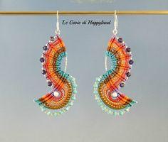These macrame earrings are really cool. via The joys of Happyland: Earrings Joan