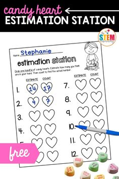 This fun estimating activity is perfect for Kindergarten or grade one! It's Valentine's Day themed and engaging so your early learners won't even realize they're practicing this important math skill! So pull out a box of candy hearts for some playful estimating practice this Valentine's Day. It's a fun sneak peek at our popular Valentine's Activity Pack!
