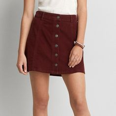 AEO Corduroy Button Skirt ($16) ❤ liked on Polyvore featuring skirts, maroon, a-line skirt, red skirt, maroon skirt, red a line skirt and knee length a line skirt