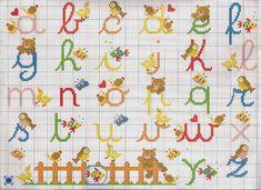 Darling Make Alphabet Friendship Bracelets Ideas. Wonderful Make Alphabet Friendship Bracelets Ideas. Cross Stitch Alphabet Patterns, Cross Stitch Letters, Cross Stitch Baby, Stitch Patterns, Embroidery Shop, Cross Stitch Embroidery, Embroidery Patterns, Alphabet Cursif, Embroidery Floss Bracelets